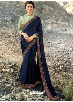 Navy Blue Soft Silk Stone Worked Designer Saree