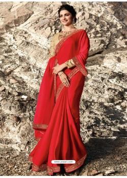 Red Soft Silk Stone Worked Designer Saree