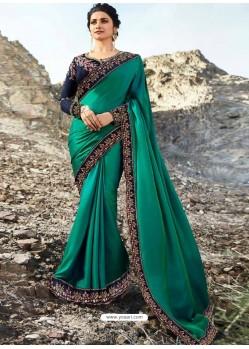 Teal Soft Silk Stone Worked Designer Saree