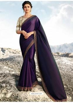 Purple Soft Silk Stone Worked Designer Saree