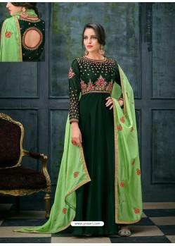 Dark Green Satin Georgette Zari And Resham Embroidered Anarkali Suit