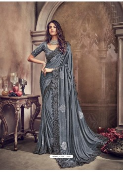 Grey Pure Imported Heavy Worked Bridal Saree