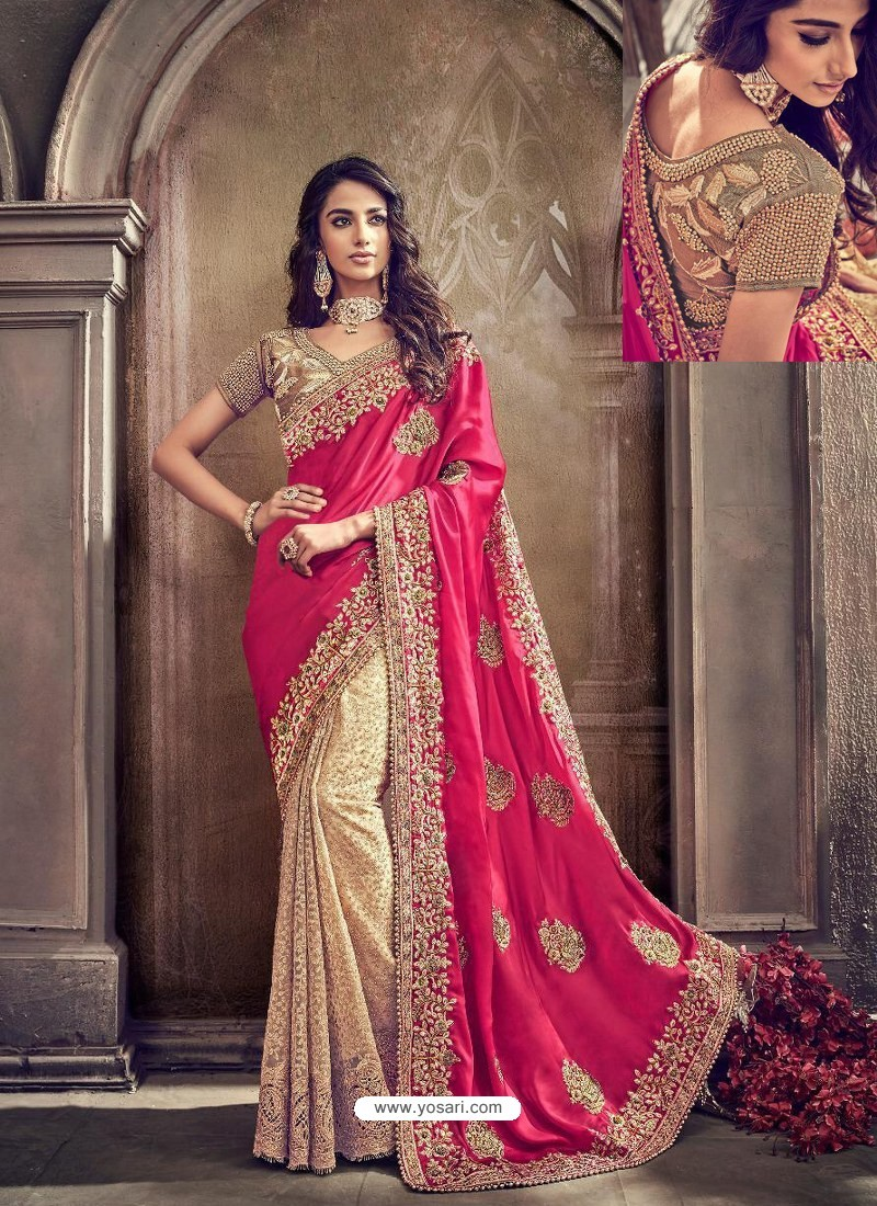 Rani And Cream Pure Imported Heavy Worked Bridal Saree