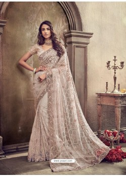 Light Beige Cement Digital Net Heavy Worked Bridal Saree