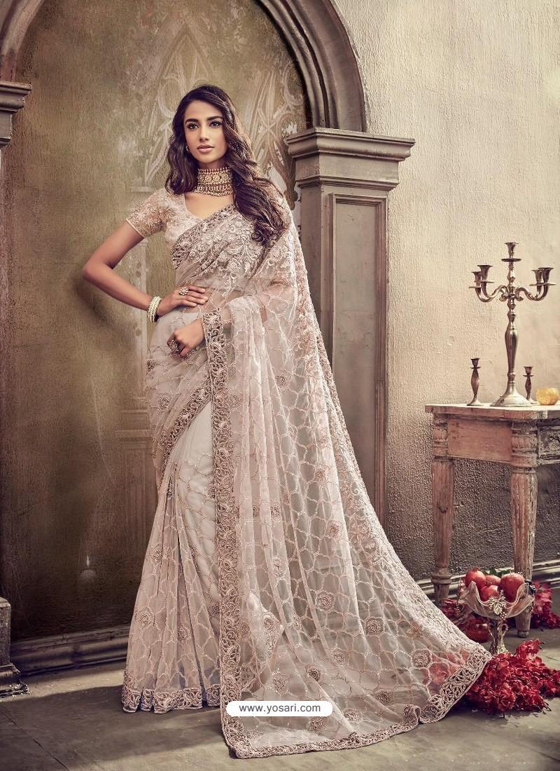 Light Beige Cement Digital Net Heavy Worked Bridal Saree