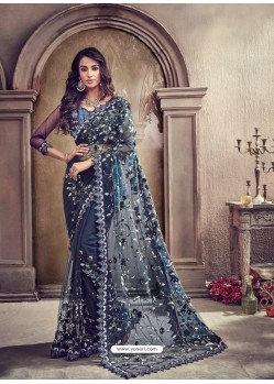 Navy Blue Digital Net Heavy Worked Bridal Saree