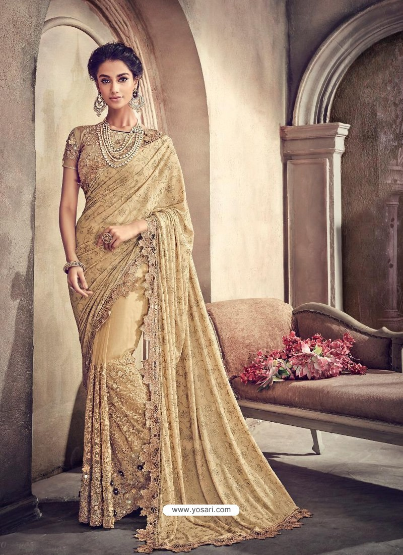 Beige Lycra And Digital Net Heavy Worked Bridal Saree
