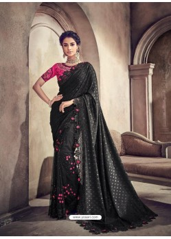 Black Lycra And Digital Net Heavy Worked Bridal Saree