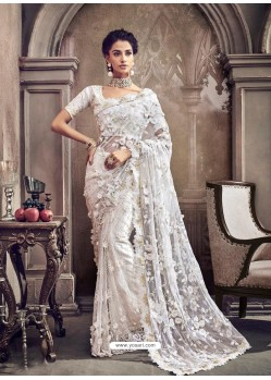 White Digital Net Heavy Worked Bridal Saree