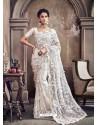 White Digital Net Heavy Worked Bridal Saree