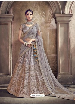 Grey Digital Net Heavy Worked Bridal Saree