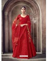 Red Digital Net Heavy Worked Bridal Saree
