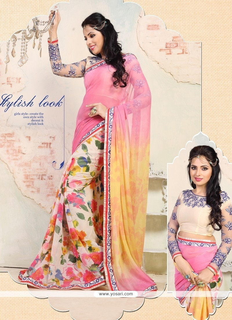 Off White And Pink Printed Casual Saree