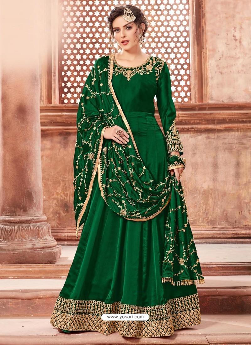 Dark Green Satin Georgette Embroidery Designer Anarkali Suit