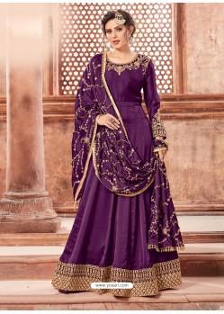 Purple Satin Georgette Embroidery Designer Anarkali Suit