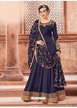 Navy Blue Satin Georgette Embroidery Designer Anarkali Suit