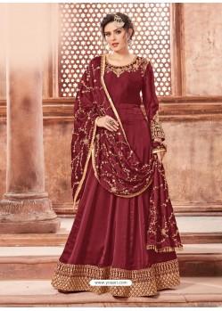 Maroon Satin Georgette Embroidery Designer Anarkali Suit