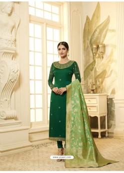 Dark Green Satin Georgette Stone Worked Designer Churidar Suit
