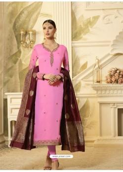 Hot Pink Satin Georgette Stone Worked Designer Churidar Suit