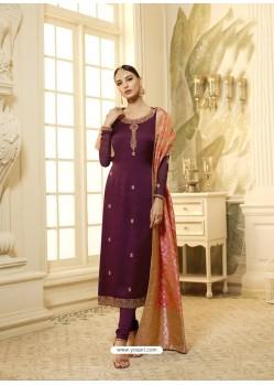 Deep Wine Satin Georgette Stone Worked Designer Churidar Suit