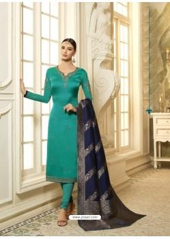 Aqua Mint Satin Georgette Stone Worked Designer Churidar Suit