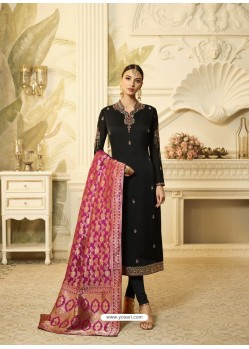 Black Satin Georgette Stone Worked Designer Churidar Suit