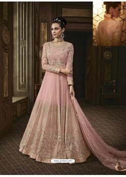 Pink Georgette Heavy Embroidered Designer Anarkali Suit
