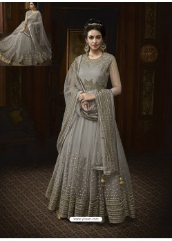 Grey Net Heavy Embroidered Designer Anarkali Suit