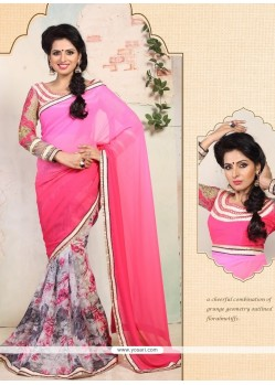 Amazing Pink Shaded Georgette Printed Saree
