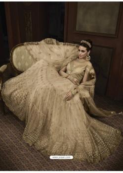 Beige Net Heavy Embroidered Designer Anarkali Suit