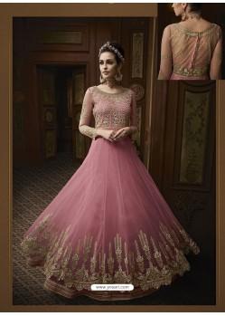 Light Pink Net Heavy Embroidered Designer Anarkali Suit