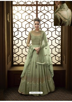 Sea Green Net Heavy Embroidered Designer Anarkali Suit