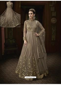 Light Brown Net Heavy Embroidered Designer Anarkali Suit