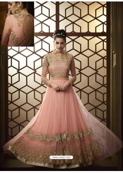 Baby Pink Net Heavy Embroidered Designer Anarkali Suit