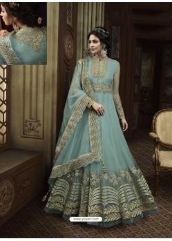 Sky Blue Net Heavy Embroidered Designer Anarkali Suit