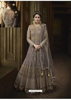 Dull Grey Net Heavy Embroidered Designer Anarkali Suit