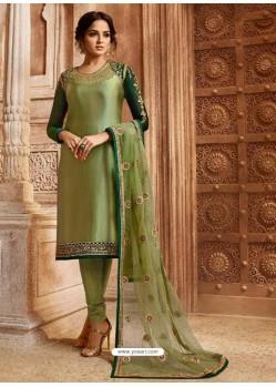 Green Georgette Satin Embroidered Designer Churidar Suit