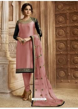 Pink Georgette Satin Embroidered Designer Churidar Suit