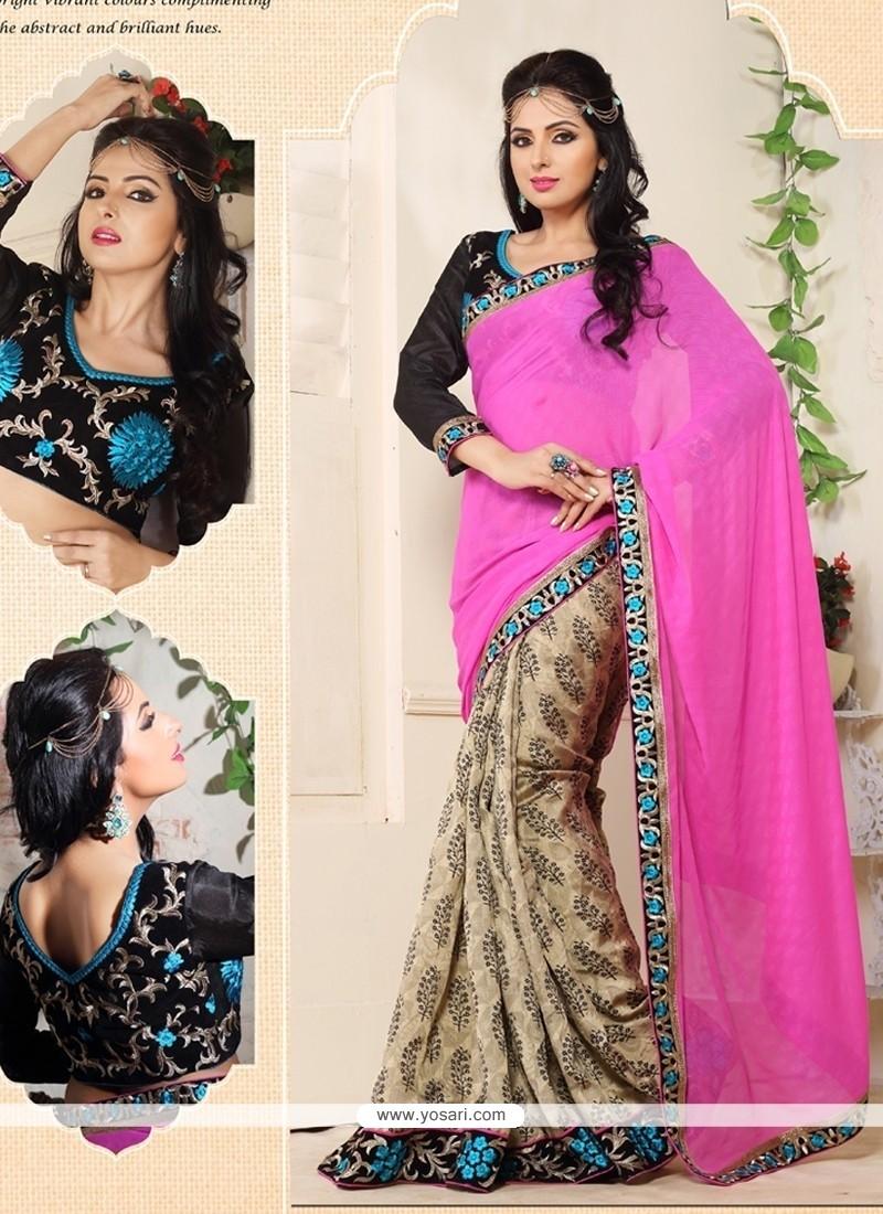 Glorious Pink And Beige Cotton Jacquard Saree