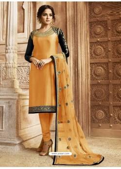 Orange Georgette Satin Embroidered Designer Churidar Suit