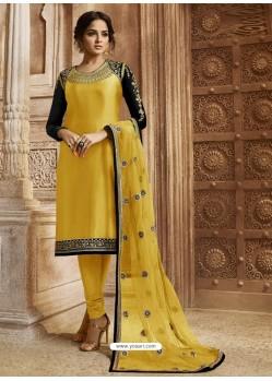 Yellow Georgette Satin Embroidered Designer Churidar Suit