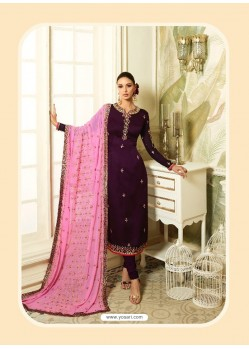 Purple Satin Georgette Diamond Worked Designer Churidar Suit