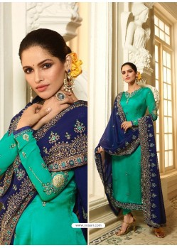 Aqua Mint Satin Georgette Diamond Worked Designer Churidar Suit