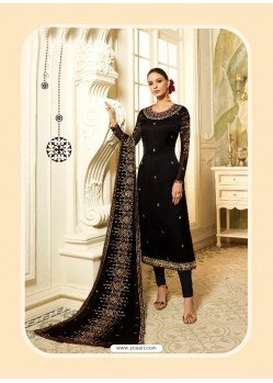 Black Satin Georgette Diamond Worked Designer Churidar Suit