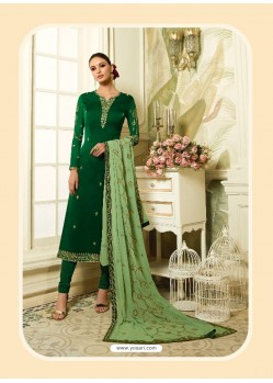Dark Green Satin Georgette Diamond Worked Designer Churidar Suit