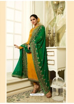 Yellow Satin Georgette Diamond Worked Designer Churidar Suit