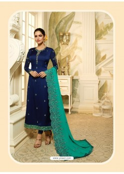 Navy Blue Satin Georgette Diamond Worked Designer Churidar Suit