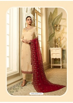 Cream Satin Georgette Diamond Worked Designer Churidar Suit