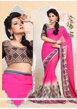 Celestial Pink Resham Work Casual Saree