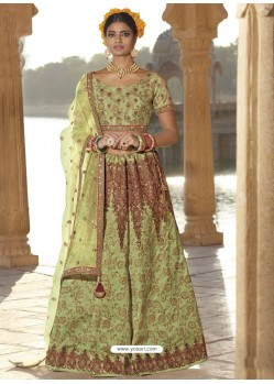 Green Silk Stone Embroidered Designer Bridal Lehenga Choli